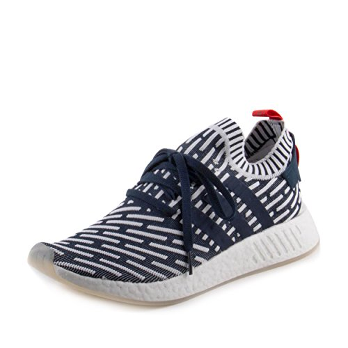 NMD R2 Primeknit in Collegiate Navy/Running White by Adid...