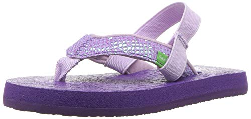 Sanuk Kids Girls' Yoga Glitter Flip-Flop, Purple-with Strap, 11/12 M US Little kid ()