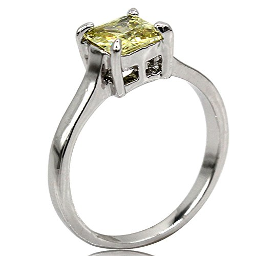 Jude Jewelers Rhodium Plated Princess Cut Birthstone Solitaire Engagement Ring (Aug-Peridot, 6)