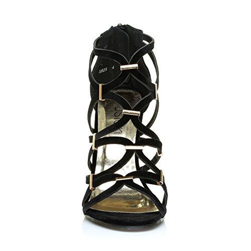 unique ShuWish femme UK Noir Daim pour Taille Sandales noir ARwSqRZa4x