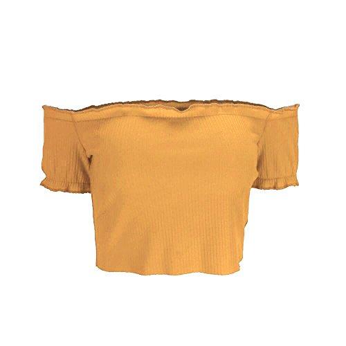 Ragazze Estate Magliette Cotone Levifun T E Camicette Per Tunica Top Spalla Manica Corta Elegante Shirts Casual Donna Giallo Estive Off Vestiti Canotta Crop 1ZqdZP