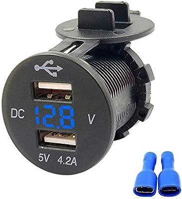 USB Auto enchufe Dual Cargador de Coche 12 V/24 V 5 V 4.2 A USB Coche Cargador Agua Densidad Auto encendedor de cigarrillos Adaptador para ...