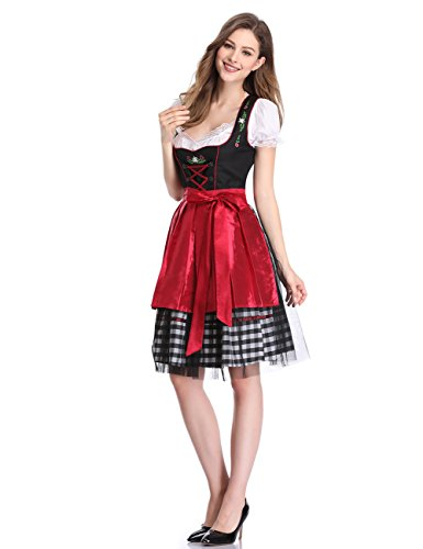 Clearlove Women German Dirndl Dress Costumes for Bavarian Oktoberfest Halloween Carnival (M, Red)
