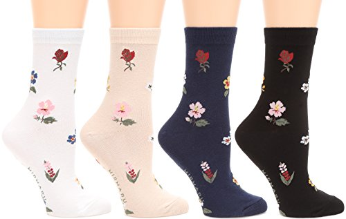 MIRMARU Women's 4 Pairs Famous Painting Art Printed Funny Novelty Casual Cotton Crew Socks. (W-L-147)