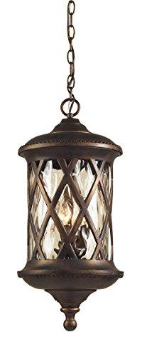 Elk Barrington Gate - Artistic Lighting 42033/3 3-Light Outdoor Pendant In Hazelnut Bronze and Designer Water Glass