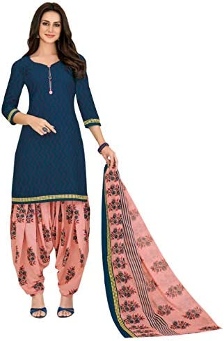 Miraan Women Cotton Unstitched Dress Material (SGPRI717, Blue, Free Size)