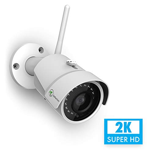 Reflection 4MP WiFi Outdoor Wireless 2K Security Camera 2688 x 1520p, Bullet Surveillance Cam with Free Cloud, IP67 Waterproof, 98° Viewing Angle, MicroSD Support, 98ft SUPERHD Night Vision, White
