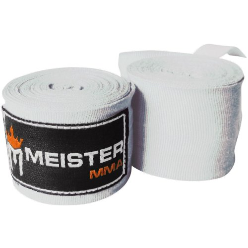 """Meister Adult 180"""" Semi-Elastic Hand Wraps for MMA & Boxing (Pair) - White"""