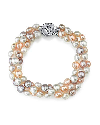 - THE PEARL SOURCE 5-6mm Genuine Multicolor Freshwater Cultured Pearl Bracelet for Women