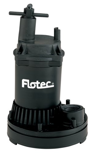 Flotec FP0S1250X-02 Fp0S1250X-08 General Purpose Water Removal Utility Pump, 1200 Max Gph, 1/6 Hp, 115 Vac, 60 Hz, 8 Ft