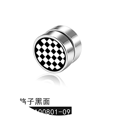 Explosion-proof hypoallergenic titanium steel square magnet earrings fashion dumbbell stainless steel - Explosion Proof Bell