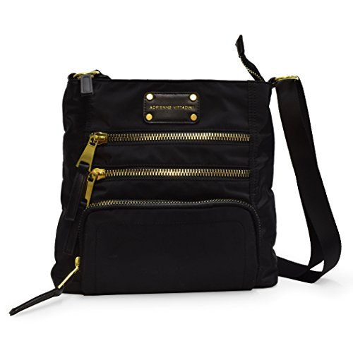 Front Adrienne Adjustable with Vittadini Zip Strap Triple Black Crossbody Shoulder BAHSACqxw