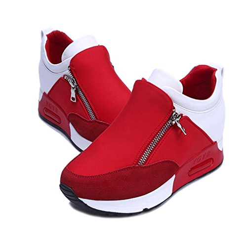 haoricu Sports Shoes Women, Women Wedges Boots Platform Shoes Slip On Ankle Boots Fashion Casual Running Hiking Sneakers (US:7, Red)