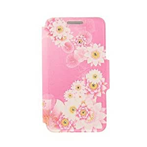 SHOUJIKE Kinston Pink Lotus Pond Diamond Paste Pattern PU Leather Full Body Case with Stand for iPhone 5/5S