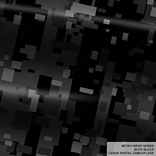 Metro Wrap Series Elite Black Large Digital Camouflage 5ft x 12ft (60 sq/ft) Camo Vinyl Car Wrap Film ()