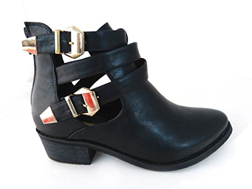 Sides Out Chelsea Womens Various Sole 3 Designs 13094 Cleated Size 6 4 5 8 1 Peep Toe Clasps Shoes Ankle Ladies 7 Buckle Gold Cut Black Boots xZEqrYwtyE