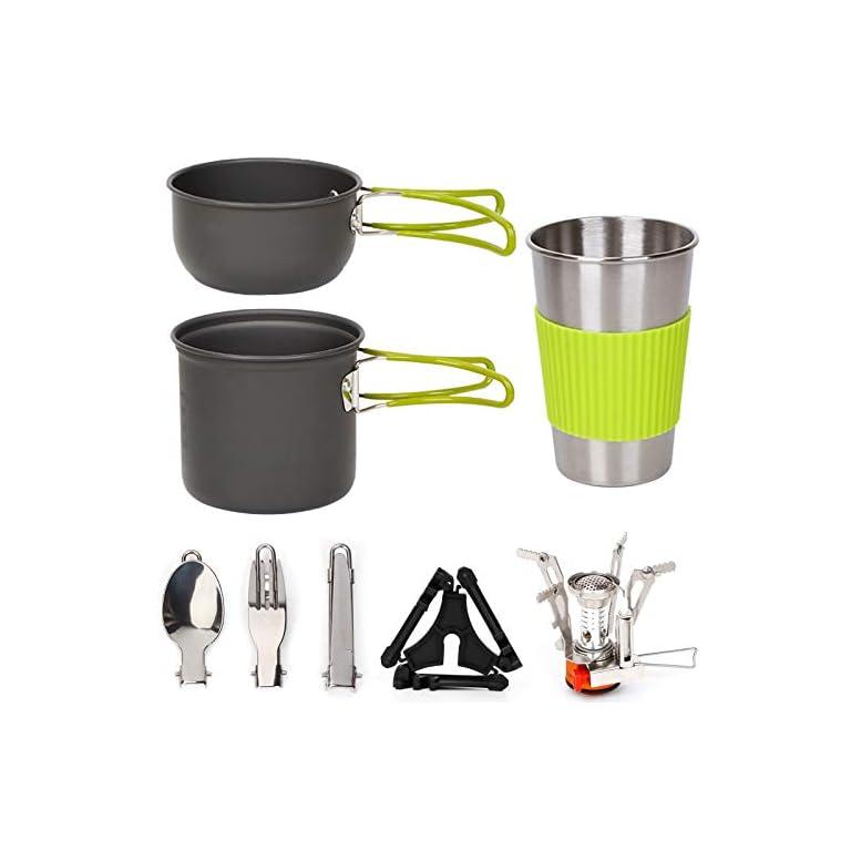 Camping Geschirr Set Kochset Aluminium Camping Töpfe Becher Faltbare Besteck Mini Campingkocher Wasserkocher Super…