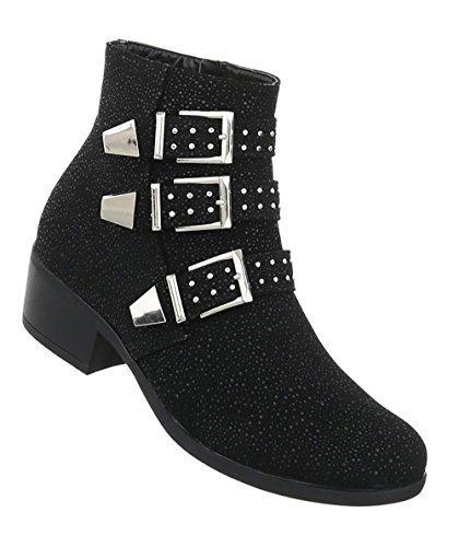 Damen Schuhe Stiefeletten Nieten Boots Schwarz