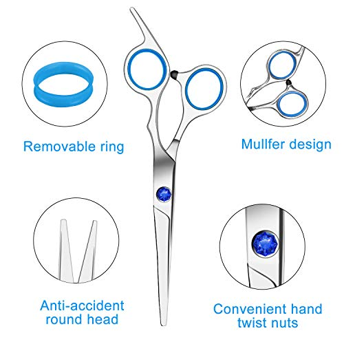 Hair Cutting Scissors Set 6 inches, Professional Stainless Steel Reinforced Barber/Salon Shears for Hairdressing, Thinning, Home Use - Flat Shears, Teeth Shear, Comb Neck Duster & Hair Clip Included
