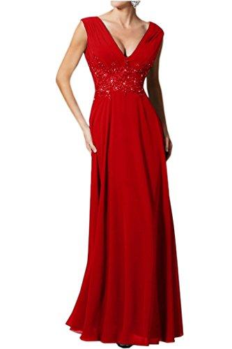 Avril Robe Mère Sexy Cou V Profond De Mousseline De Soirée Bretelles De Mariée Rouge Longue Robe