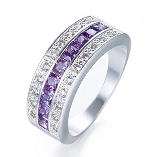 Women's Dainty Princess Cut Created Amethyst Wedding Ring Band Simulated Feb Birthstones Cubic Zirconia Engagement Eternity Rings Size 6