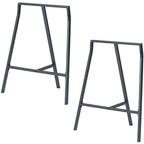 (Set of 2 Industrial Look Durable Steel Crosscut Trestle Legs for Table , Desk or Workstation , Dark Gray)
