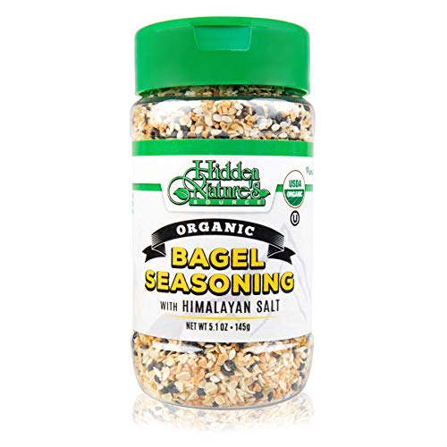 Organic Everything Bagel Seasoning Blend: Himalayan Sea Salt Sesame & Dried Poppy Seeds - Kosher Toppings and Spices with Seasonings of Garlic & Onion Flakes for Topping Bagels Fish Eggs or Vegetables
