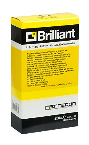 AC/R Leak Detector Dye Brilliant (8.5 fl.oz / 250millimeter) - UV Fluerescent Dye for A/C Systems with R12, R134a, R1234yf, Hybrid and Electric Vehicles ...