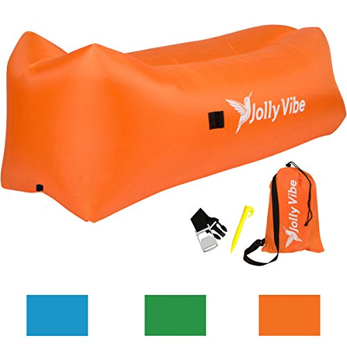 Jolly Vibe Inflatable Air Lounger - Premium Design with Headrest, Pockets, Bottle Holder & Opener, Securing Stake, & Carry Bag - Indoor & Outdoor use for Beach, Camping, Pools - Heavy Duty & Portable