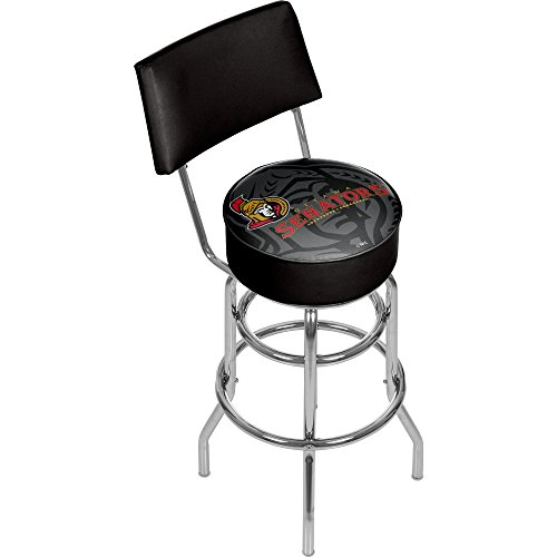 Trademark Gameroom NHL1100-OW-WM NHL Swivel bar Stool with Back - Watermark - Ottawa Senatorsa ()