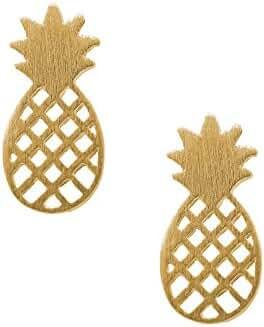 Spinningdaisy Handcrafted Brushed Metal Cute Pineapple Stud Earrings