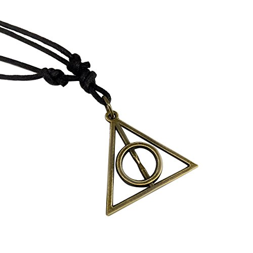 Adeley Mens Womens Harry Potter Deathly Hallows Inspired Brass Charm Adjustable Necklace -