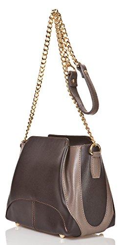 azzesso - Italienische Leder Umhängetasche Turin in schoko braun und milchkaffee, Echtleder, die Tasche vom italienischem Mode Profi, Handtasche 22x18 cm