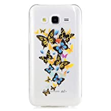 Samsung Galaxy S8 Plus Case, JIEJIEWYD Mandala Floral Designer Hard Shell Case Clear Back Cover, Slim Fit, TPU Slim Fit Scratch Resistant Case For Samsung Galaxy S8 Plus - orange blue butterfly
