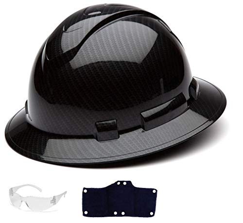 Pyramex Full Brim Hard Hat with Standard Ratchet Suspension Color Shiny Black by Pyramex (Image #5)