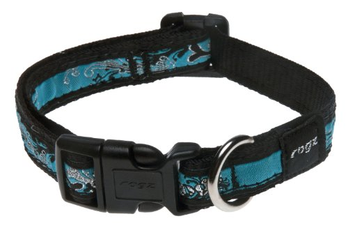 Rogz Fancy Dress Medium 5/8-Inch Scooter Dog Collar, Turquoise Chrome Design