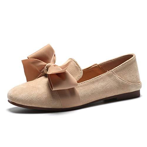 Artificielle De Peas Papillon Ballet Flats Beige Chaussures Suede Nœud Femme orCxedB
