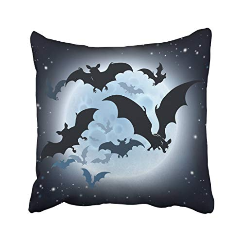 Emvency Haloween Halloween Featuring Vampire Bats and Full Moon Hallowen Helloween Big Autumn Back Black Cartoon Throw Pillow Covers 18x18 inch Decorative Cover Pillowcase Cases Case Two Side -