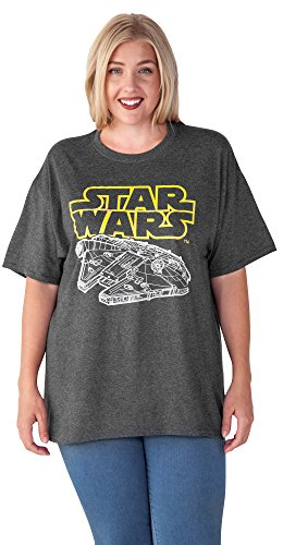 Disney Star Wars Woman's Plus Size T-Shirt Millennium Falcon Logo Print Charcoal (3XL)]()