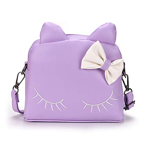 Hipiwe Little Girl Purse PU Leather Cute Cat Ears Purse Fashionable Kids Handbag Crossbody Bag Toddlers Shoulder Bags Mini Backpack Bags with Bowknot for Children (Purple Cat)