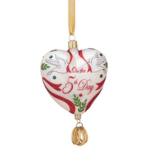 Reed & Barton Five Golden Rings European Blown Glass Ornament ()