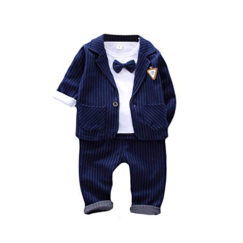 Hankyky Baby Boys Gentleman Sets Blazer and Pant and Long Sleeve Shirt 3pcs Leisure Suit