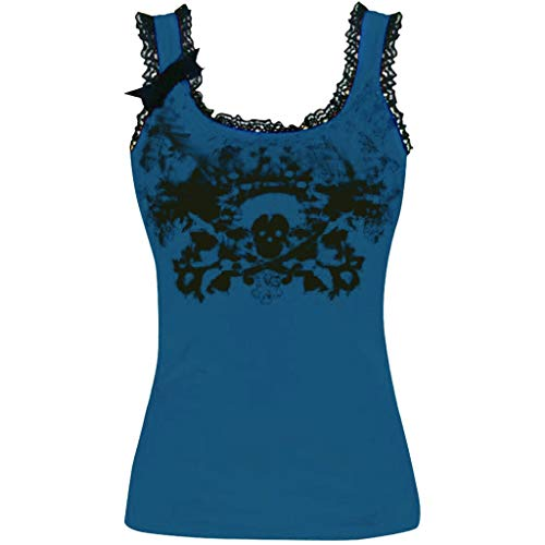 (Women's Sexy Print Lace Round Neck Sleeveless Top T-Shirt Blouse Blue)