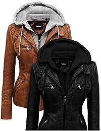 Hoffen Women's Vegan Leather Jacket with Detachable Hood - Seitig Model