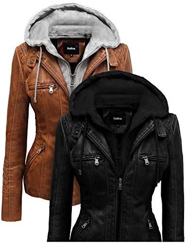 (Hoffen Women's Motorcycle Biker Vegan Leather Jacket with Detachable Hood - Seitig Model (XXL/US XL,)