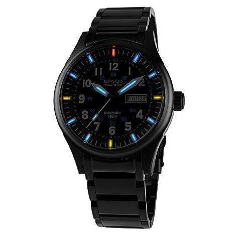 Epoca 7009 G impermeabile 100 m gas al Trizio blu e cinturino in acciaio luminoso Nero orologio automatico da uomo con custodia e biglietti da visita