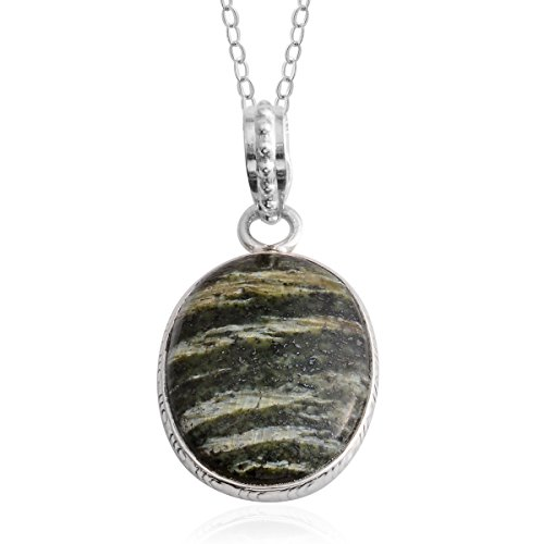 Green Zebra Jasper Sterling Silver Pendant With Chain 20