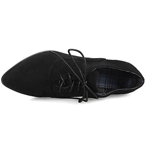 Bottes Lacets Noir De Courtes Suède Casual Bottines Chunky Confortable Bigtree Femme I8U7xqa