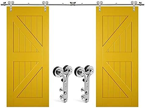 304cm/10FT kit de puerta corredera de acero inoxidable,Herrajes para puertas corredizas de acero inoxidable para puertas de vidrio/madera: Amazon.es: Bricolaje y herramientas
