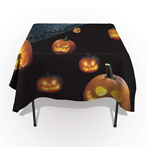 54 x 87 Inch Rectangle Tablecloth - Black Halloween Evil Pumkin Castle Rectangular Polyester Table Cloth Table Covers Linen Decor - Great for Kitchen Table, Parties, Holiday Dinner, Wedding & More ()